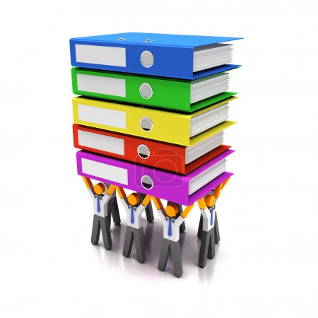 Photo for Workers lifting stack of folders, 3d render - Royalty Free Image