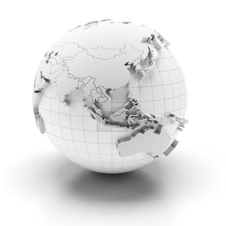 Globus mit extrudierten Kontinenten, Asien und Australien