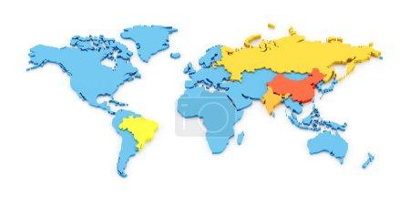Photo pour Carte 3D des économies en développement à croissance rapide du Brésil, de la Russie, de l'Inde et de la Chine, connue sous le nom de BRIC - image libre de droit