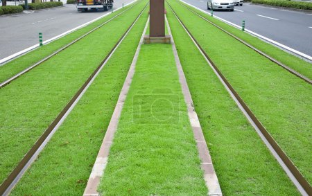 Tramway tracks on green lawn