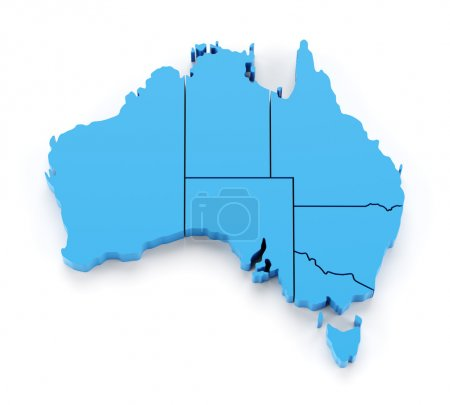 Extruded map of Australia with state borders