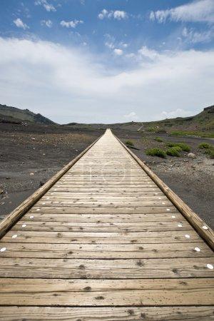 Photo pour Sentier droit en bois à travers le sol volcanique noir - image libre de droit