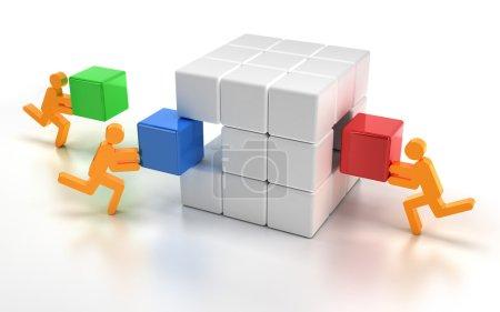Montaje de piezas faltantes de un cubo de rompecabezas