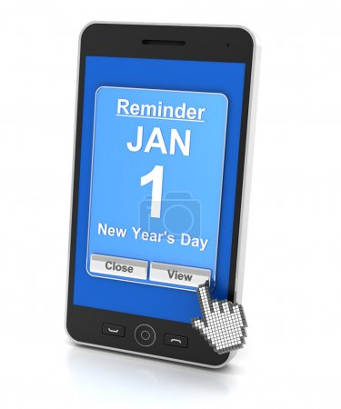 Smartphone reminder for New Years Day, 3d render