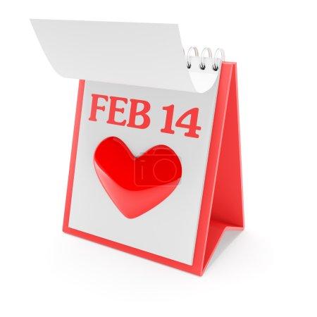 Valentines day calendar, 3d render