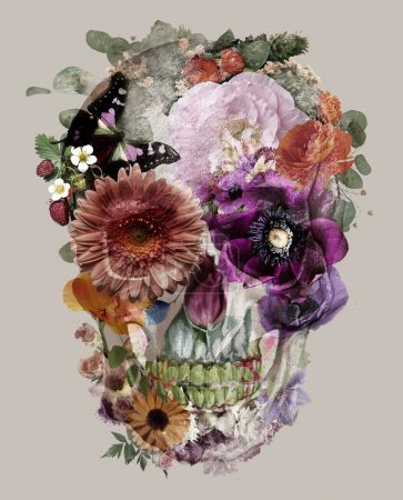 The skull consists of flowers