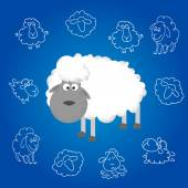 Hand drawing free style sketch of sheep Chinese symbol of new year Vector EPS 10 illustration