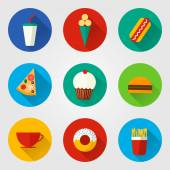 Vector illustration of flat fast food icons