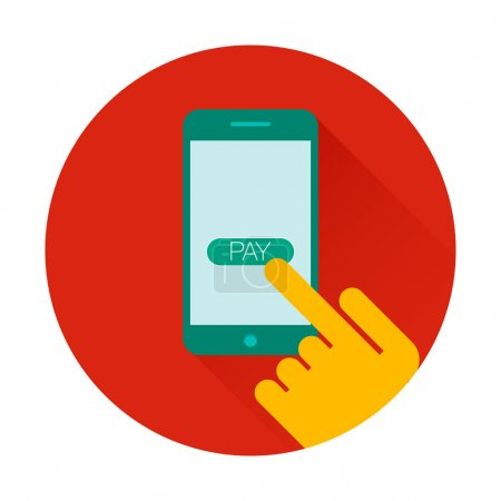 Vector icon mobile payments using smartphone