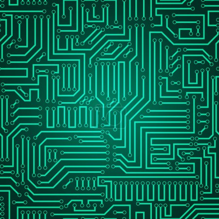 Illustration for Printed circuit texture background. Seamless green and dark green electronic plate pattern vector. Circuit board vector illustration. Futuristic background. Electrical scheme. Technology seamless background with pattern in swatches - Royalty Free Image