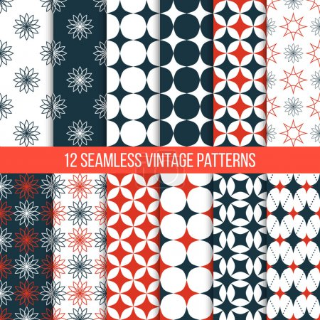 Illustration for Vector seamless retro patterns set. Geometric vintage textures. Tiling wallpaper. Red and dark blue color. Can be used for web design as background and for printing on fabric. - Royalty Free Image
