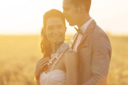 Photo pour Beau couple de mariage profitant de leur amour dans le domaine du seigle - image libre de droit