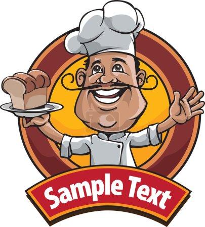Illustration pour La profession de chef mascotte est très appropriée pour un logo ou un symbole de l'entreprise de restauration - image libre de droit