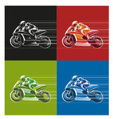 Motor racing in black red green and blue style