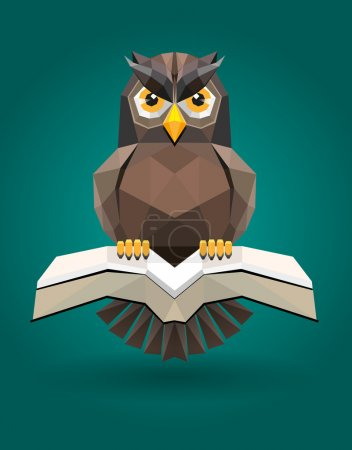Illustration for Modification owl and book like low poly style, into vector shape as symbol of science - Royalty Free Image