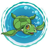 Vector green turtles in the sea as symbol or icon turtle life-saving and environment