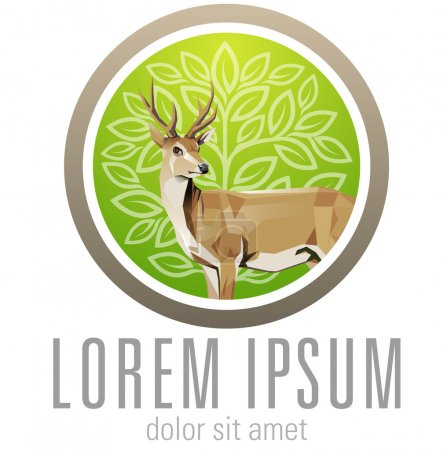 Deer with green Background for conservation logo