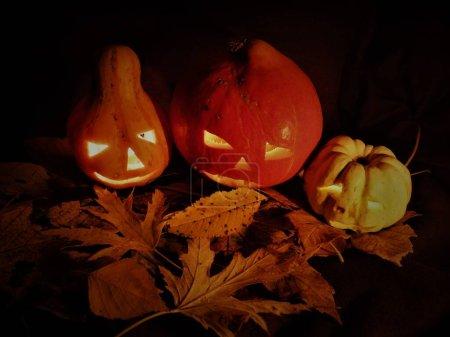 Photo pour Famille citrouille halloween sur feuilles d'automne. - image libre de droit