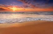 Beautiful cloudscape over the sea, sunrise shot.