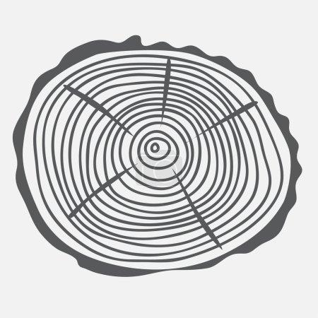 Illustration pour Anneaux annuels de l'arbre coupé, coupe ronde de bois avec des anneaux d'âge - image libre de droit