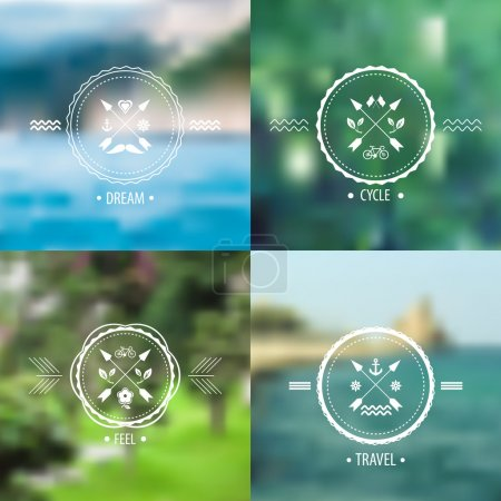 Illustration for Set of blurred landscapes with hipster badges. Web,mobile interface template, website template. Blur backdrops and badges with anchor and arrows. Ecological and green.Vector - Royalty Free Image