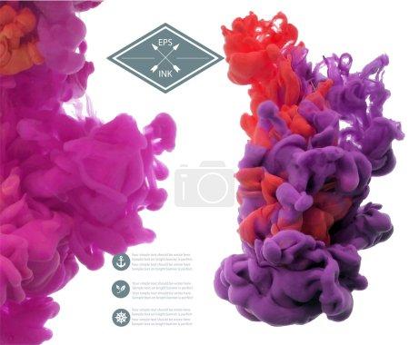 Violet ink swirling in water