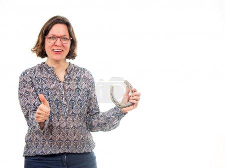 Photo pour Femme avec sabot de cheval isolé sur fond blanc - image libre de droit