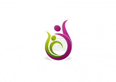Beautiful healthy pose vector logo design.