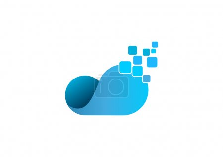 Cloud data logo abstract computing information