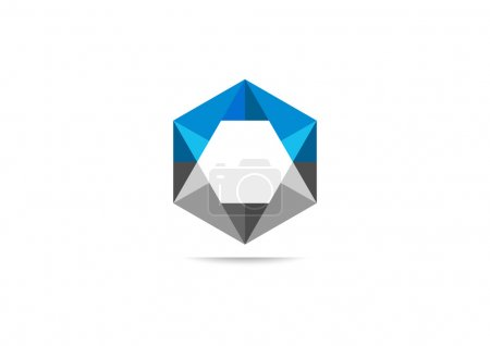 Illustration for Cube hexagon triangle business  vector logo design - Royalty Free Image