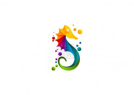 Seahorse logo, abstract sea print colourful symbol design