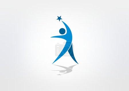 Star success healthy body vector logo design
