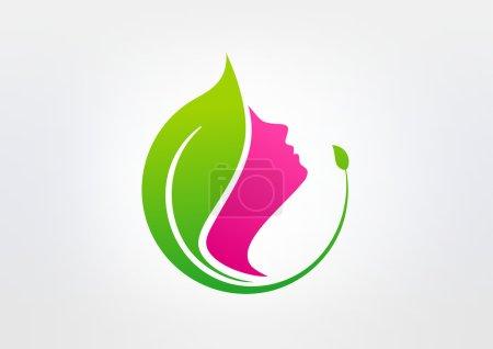 Green beauty healthy vector logo design