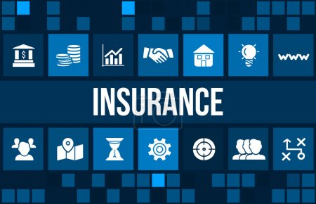 Insurance concept image with business icons and copyspace.
