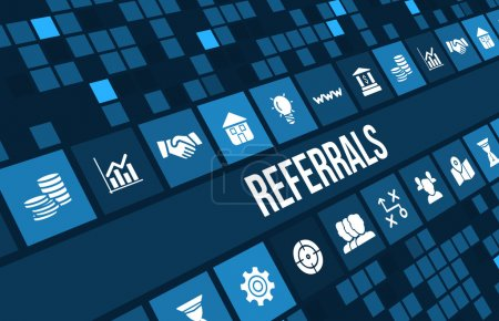 Referrals concept image with business icons and copyspace.