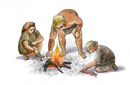 Digital illustration of a group of neanderthals wi...