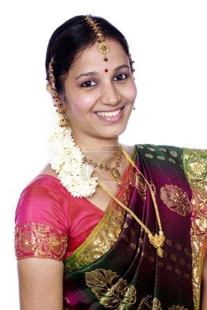 glückliche indische Tradtional Frau