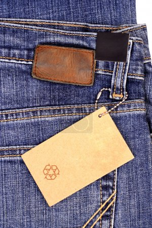 Paper tag over the jean