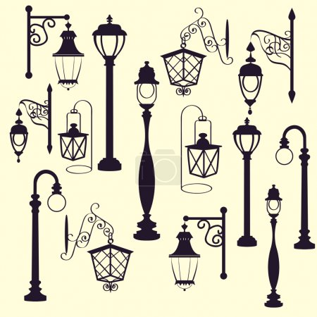 retro and modern street lanterns