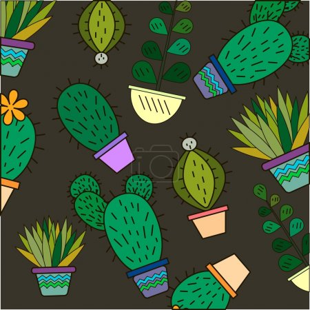 Cute handdrawn floral background with cactuses and succulents in pots. Vector botanical background. Perfect floral texture for web pages, wallpapers, textile and other types of design. Logo design