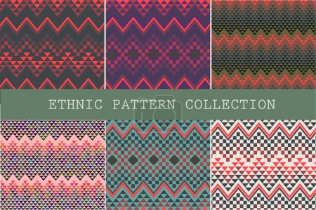 Set of ethnic seamless patterns. Aztec geometric background. Hand drawn navajo fabric. Modern abstract wallpaper. Vector illustration.