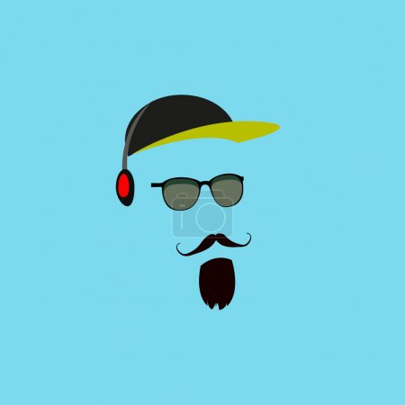 Mustache, beard,  headphones, hat, sunglasses