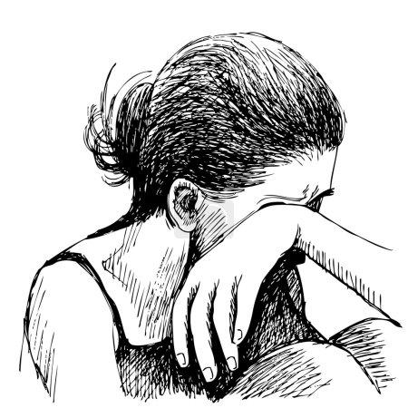sad girl hand drawn