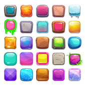 Big set of cartoon square buttons vector gui assets collection for game design