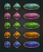 Beautiful vector magic shiny stone buttons on dark background gui assets with colorful middles
