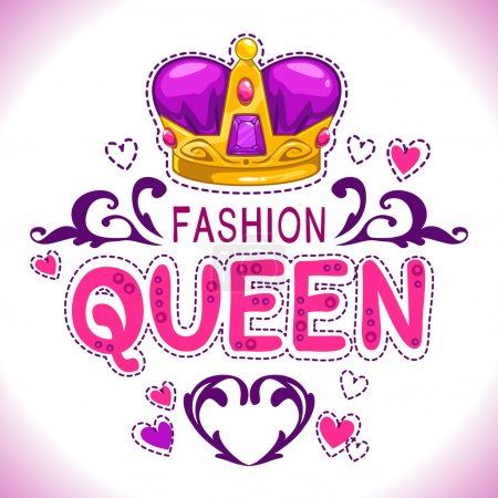 Illustration for Glamour vector girlish print with princess golden crown, fancy fashion queen lettering, vector template for girls t shirt design - Royalty Free Image