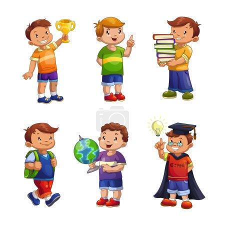 Illustration pour Dessin animé enfants heureux ensemble, illustration vectorielle des garçons des écoles permanentes, élèves de l'école primaire isolés sur blanc - image libre de droit