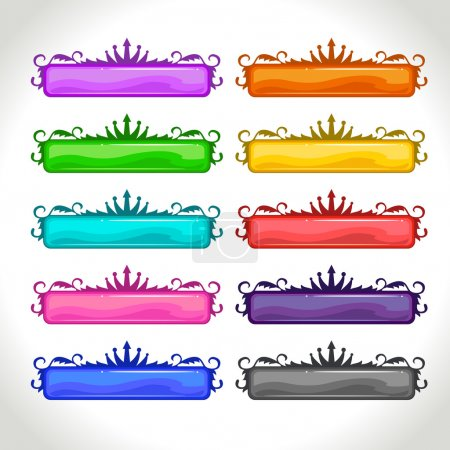 Cartoon colorful long vintage horizontal banners