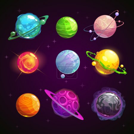 Illustration for Colorful cartoon fantasy planets set on space background, vector illustration - Royalty Free Image