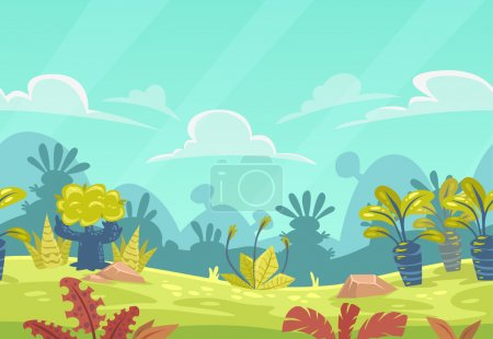 Cartoon seamless fantasy nature landscape.